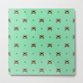 Bumblebees on Spearmint Metal Print
