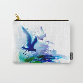 Birds flying. Sea, ocean watercolor gulls with waves. Dark blue water. Carry-All Pouch