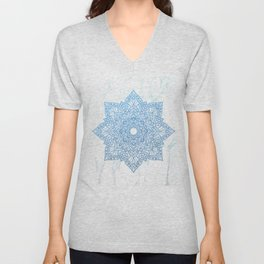 Blue flower mandala - marble Unisex V-Neck