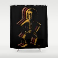 spaceman Shower Curtains featuring Ancient Spaceman by bronzarino