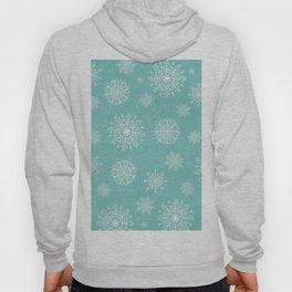 Assorted Snowflakes On Turquoise Backround Hoody