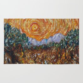 Trees, Yellow Sky and Sun Inspired by Vincent Van Gogh's Painting Rug
