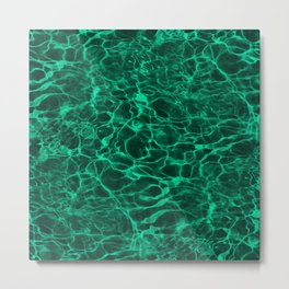Aqua Green Blue Underwater Wavy Rippling Water Metal Print