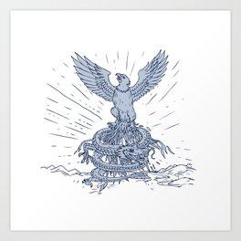 Eagle and Dragon Mountains Drawing Art Print