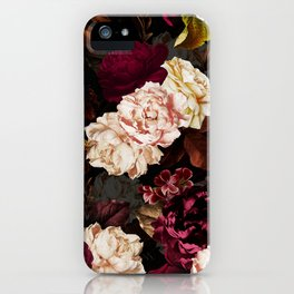 Vintage & Shabby Chic - Midnight Rose and Peony Garden iPhone Case