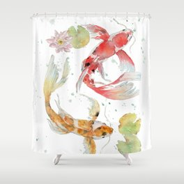 """Watercolor Painting of Picture """"Koi Pond"""" Shower Curtain"""