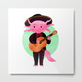 Axolotl with mariachi costume playing the guitar, Digital Art illustration Metal Print