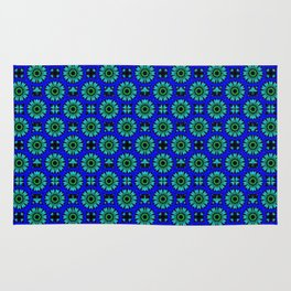 Floral green and blue Rug
