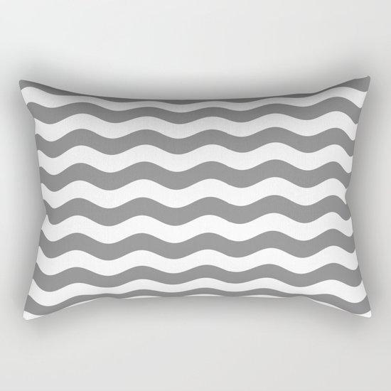 Wavy Stripes (Gray/White) Rectangular Pillow
