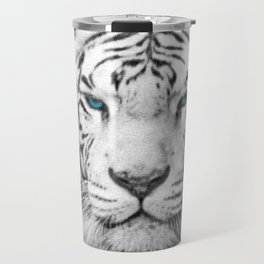 Blue Eyed White Tiger Travel Mug