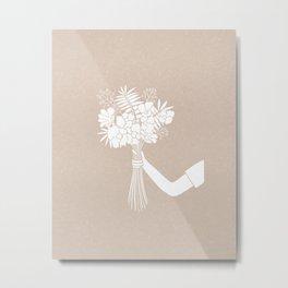 Flower Bouquet Gift // Hand drawn Folk Art // White and Cream Background Metal Print