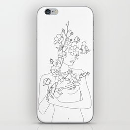 Minimal Line Art Woman with Wild Roses iPhone Skin