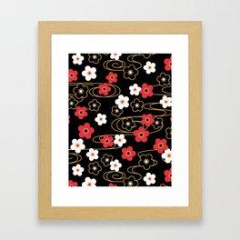 Black Sakura Kimono Pattern Framed Art Print