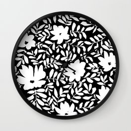 Flower Chains (Black + White) Wall Clock