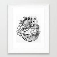 kitsune Framed Art Prints featuring Kitsune by Owen Swerts