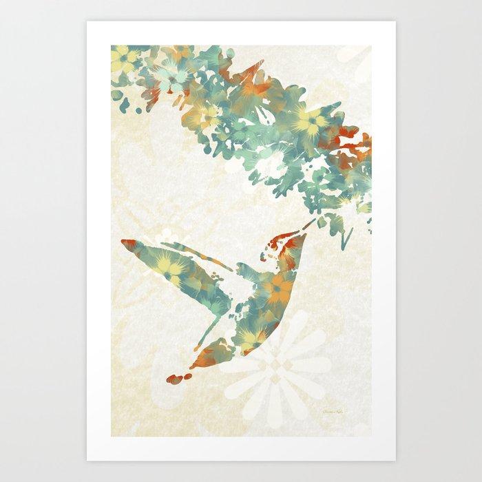 Colorful Teal Hummingbird Art Art Print
