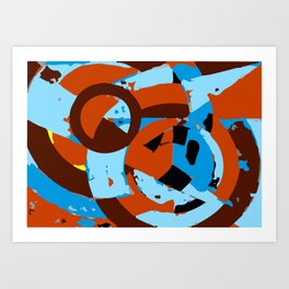 Orange and blue abstact composition 1 Art Print