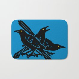 Grackles, the most diabolical birds, take over Austin, Texas Bath Mat