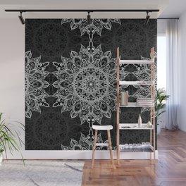 Boho style white mandala over black Wall Mural