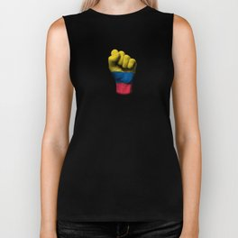 Colombian Flag on a Raised Clenched Fist Biker Tank