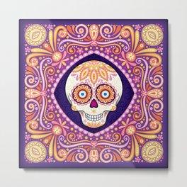 Cute Sugar Skull - Day of the Dead Skull Art by Thaneeya McArdle Metal Print