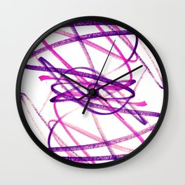Twisted Violet Fuchsia Abstract Lines Wall Clock