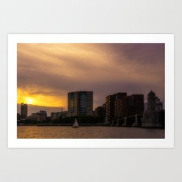 City at sunset Art Print