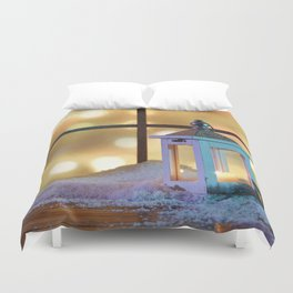 Holiday Christmas Lantern Window Snow Duvet Cover
