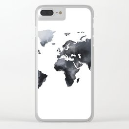 Blue world map Clear iPhone Case