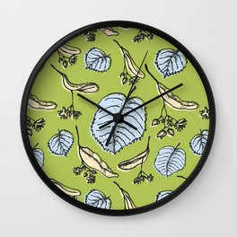 Linden pattern in spring colors Wall Clock