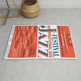 Vintage 1949 Paris International Jazz Festival Poster Rug