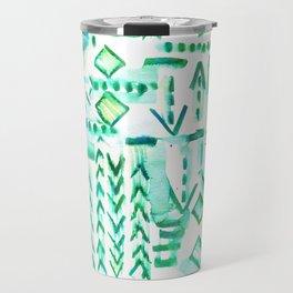 Tapa Tribal Green Travel Mug