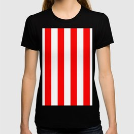 Vertical Stripes - White and Red T-shirt