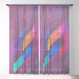 Girly Purple Abstract Art Design Sheer Curtain