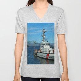 US Coast Guard On Columbia River Unisex V-Neck