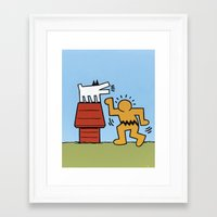 keith haring Framed Art Prints featuring Keith Haring + Charles Schulz by Jared Yamahata