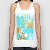 gold glitter Tank Tops featuring Turquoise gold faux glitter modern marble pattern by Pink Water