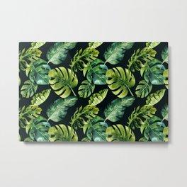 Watercolor Botanical Green Monstera Lush Tropical Palm Leaves Pattern on Solid Black Metal Print