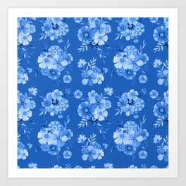Breathe // Blue Floral Repeat Art Print
