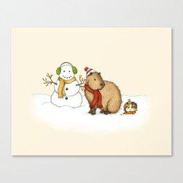 Capy Holidays - Making a Snowman Canvas Print