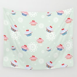 Seamless pattern with cupcakes on green background Wall Tapestry