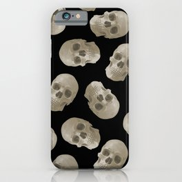 Halloween Skull pattern design black background iPhone Case
