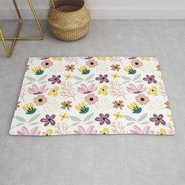 Colorful floral Cut Out Flowers and Shapes Rug