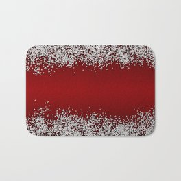 Shiny Red Texture With Silver Sparkles Bath Mat