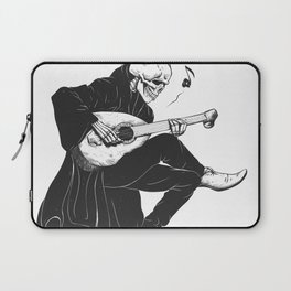 Minstrel playing guitar,grim reaper musician cartoon,gothic skull,medieval skeleton,death poet illus Laptop Sleeve