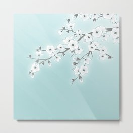 Cherry Blossoms Mint White Metal Print