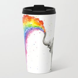 Baby Elephant Spraying Rainbow Whimsical Animals Travel Mug