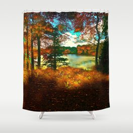 Trees and Shadows in New England Shower Curtain