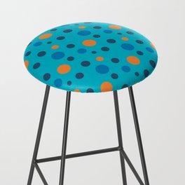 Blue and Orange dots on Blue Bar Stool