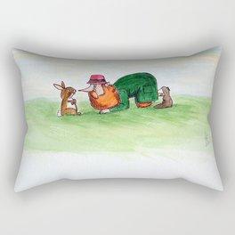 Eye to eye Leprechaun and Rabbit Rectangular Pillow